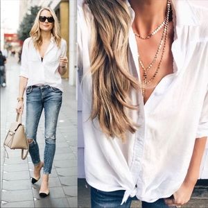Tops - Button down white shirt casual work wear summer